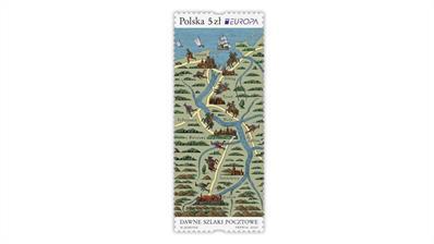 poland-2020-europa-ancient-postal-routes-stamp