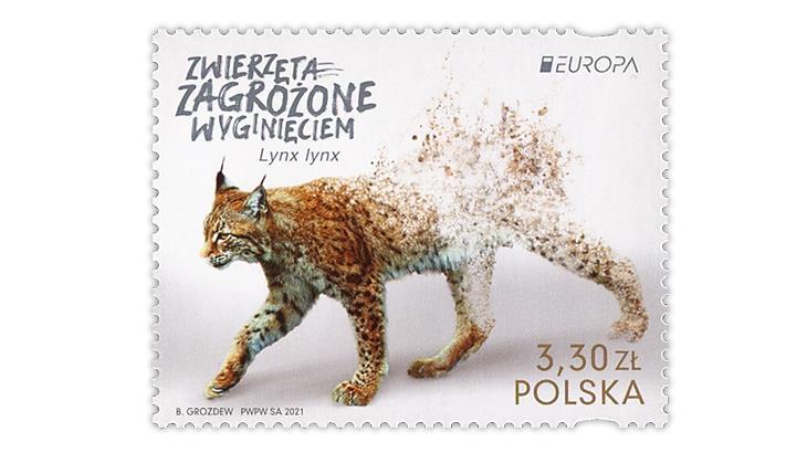 poland-2021-europa-eurasian-lynx-stamp