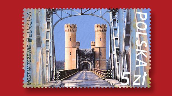 poland-europa-tczew-bridge-stamp