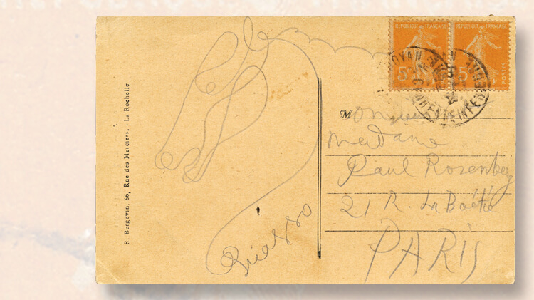 postcard-horse-drawing-pablo-picasso-christoph-gaertner-auction
