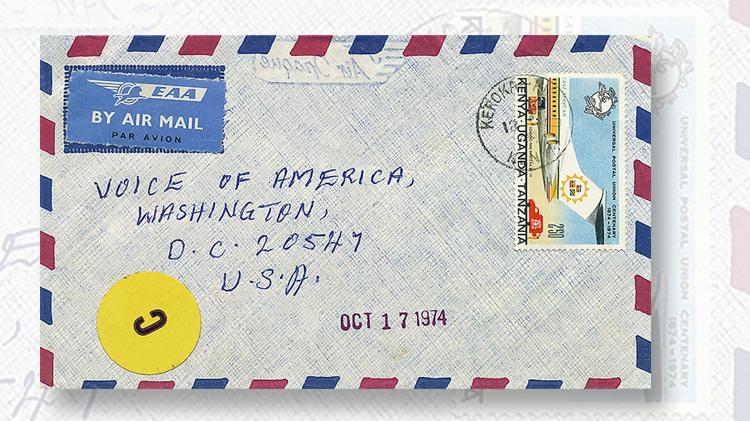 pressure-sensitive-package-label-airmail-letter-kenya-uganda-tanzania