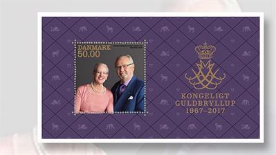 queen-margrethe-prince-henrik-golden-wedding-anniversary-souvenir-sheet