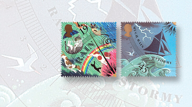 rain-stamps-from-great-britain-1991-weather-set