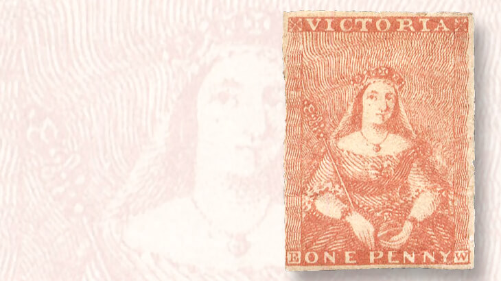 red-brown-victoria-1d-stamp