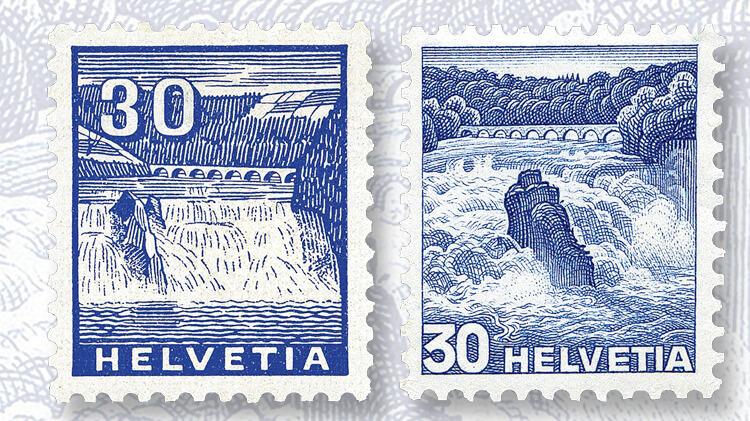 rhine-falls-swiss-landscape-stamps