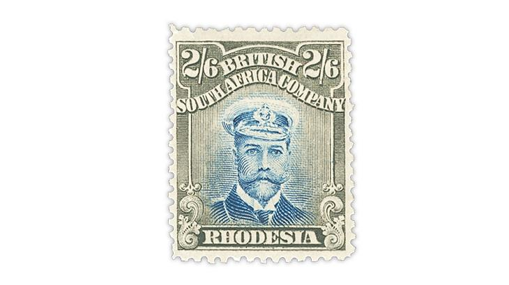 rhodesia-2-shilling-6-pence-pale-blue-brown-king-george-v-stamp