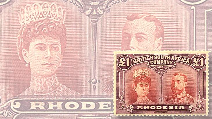 rhodesia-double-head-color-error-1910-harmer-schau-auction