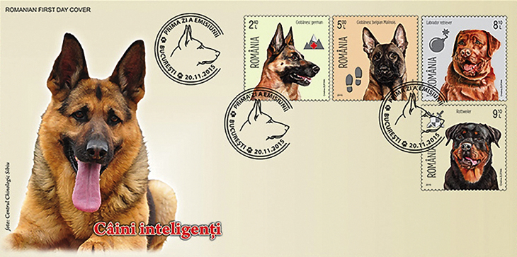 romania-2015-intelligent-dogs-stamps