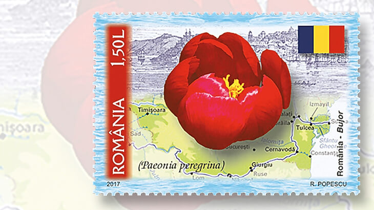 romania-national-symbol-flower-stamp