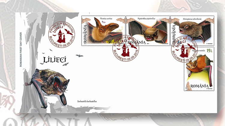 romanian-bats-first-day-cancel-stamp