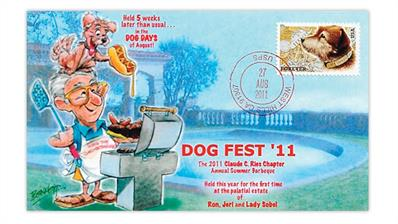 ron-sobel-caricature-dave-bennett-2011-owney-dog-first-day-cover