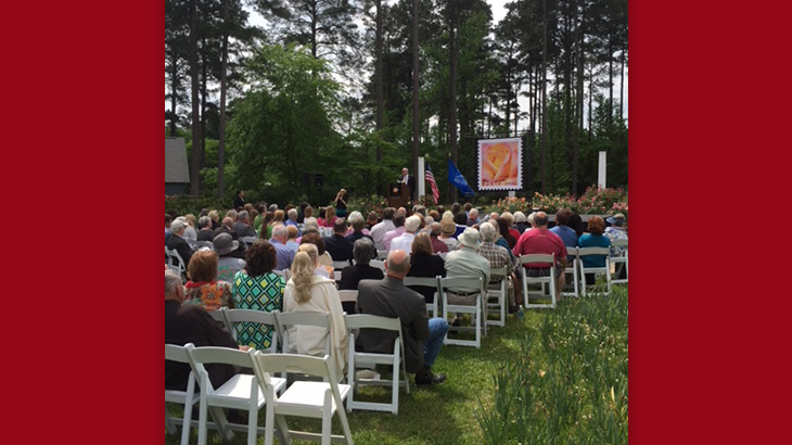 Peace rose forever stamp ceremony for The gardens of the american rose center