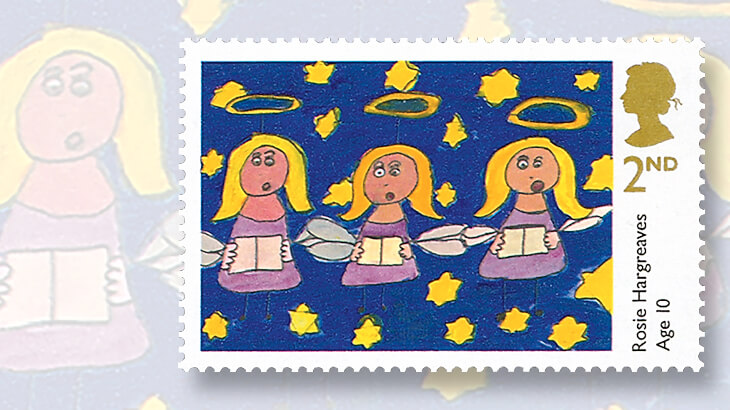 one of the winning entries in great britains design competition for its 2013 christmas stamps is singing angels by rosie hargreaves who was 10 at the
