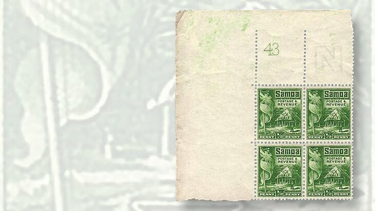 samoa-43-hut-and-flag-stamp-block