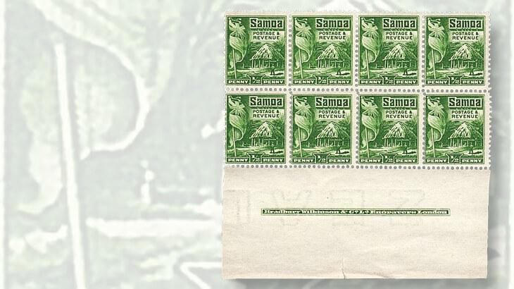 samoa-hut-and-flag-stamp-block