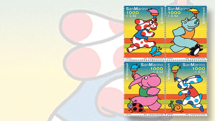 san-marino-2000-summer-olympics-snail-stamps