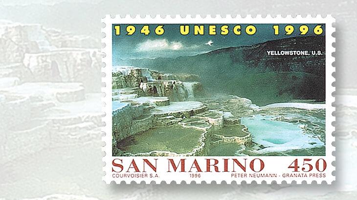 san-marino-stamp-mammoth-hot-springs