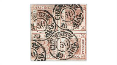 saxony-1850-3-pfennig-cherry-red-stamp-used-block