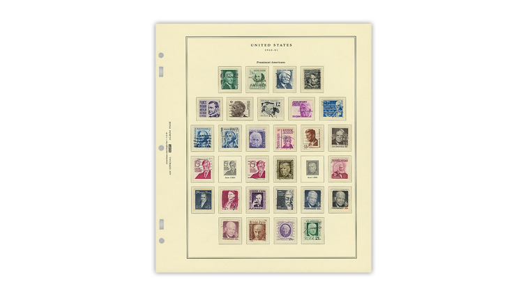 Scott National album page for used u.s. stamps