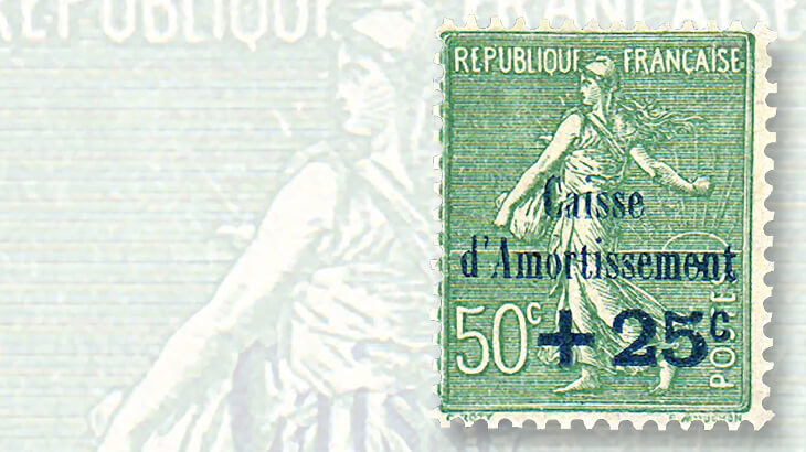 second-france-sinking-fund-definitive-stamp