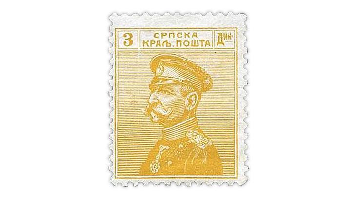 serbia-1914-olive-yellow-king-peter-karageorge-stamp
