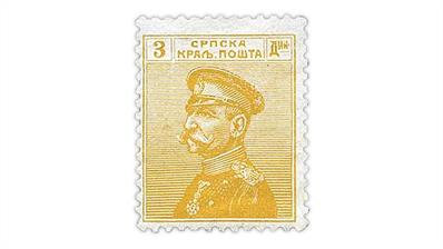 serbia-1914-olive-yellow-king-peter-karageorge-stamp