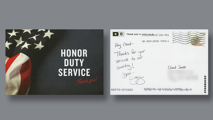 Coffee postcards and gratitude linns front and back of a postcard created by the starbucks coffeehouse chain for customers to mail a note of gratitude to military service members the card was reheart Gallery
