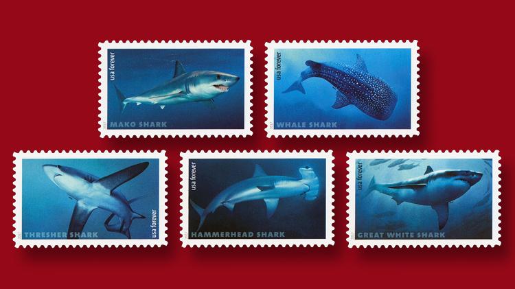 sharks-set-five-forever-stamps