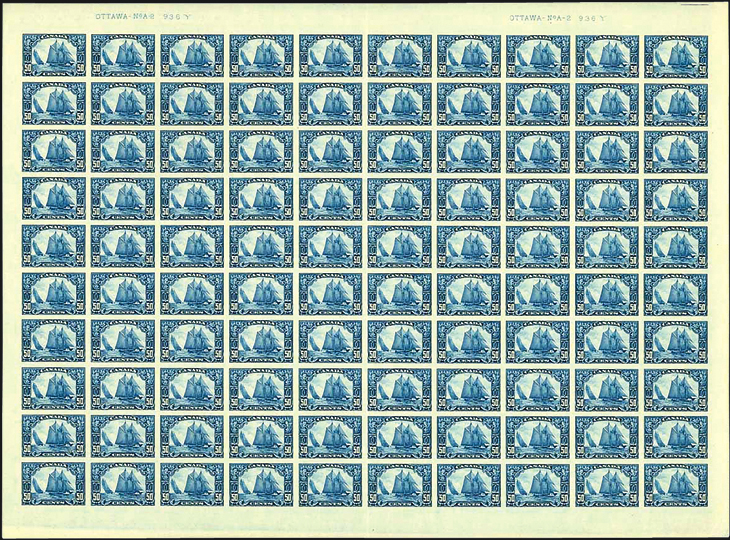 sheet-of-100-canada-1959-50-cent-dark-blue-bluenose-stamp