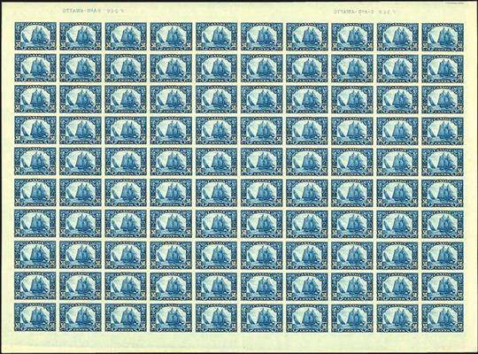 sheet-of-100-canadas-1959-50-dark-blue-bluenose-stamp