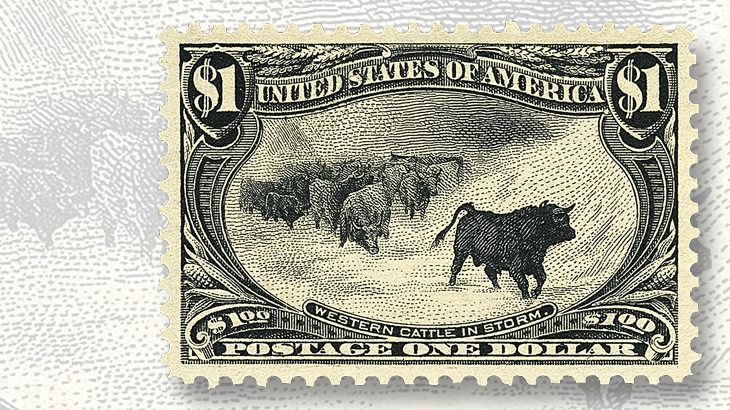 siegel-auction-western-cattle-in-storm-stamp-graded-superb