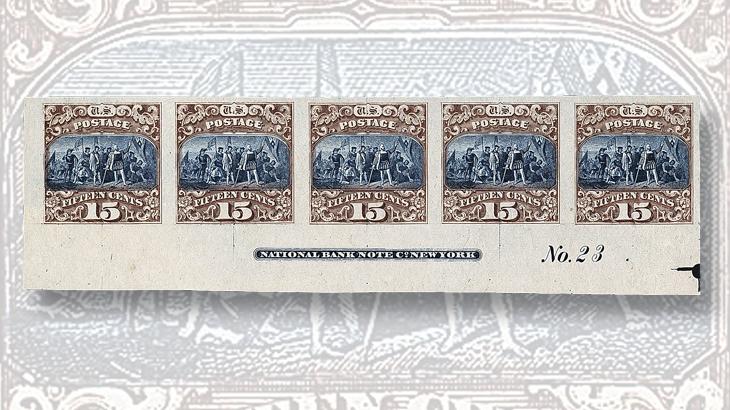 siegel-us-1869-15c-imperforate-plate-proof-strip
