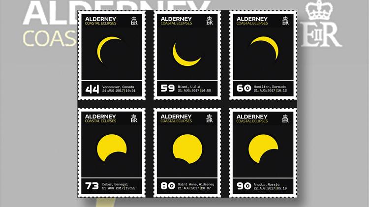six-stamps-alderney-total-solar-eclipse