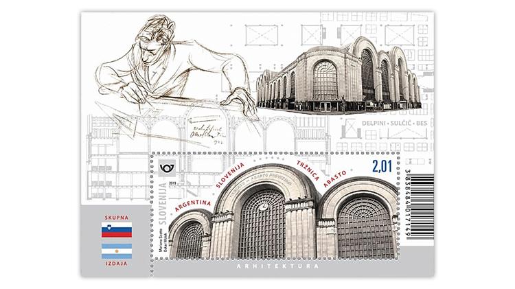 slovenia-2019-argentina-joint-issue-architect-viktor-sulcic-souvenir-sheet