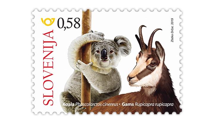slovenia-2019-australia-conservation-koala-chamois-stamp