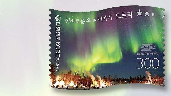 south-korean-northern-lights-flag-stamp