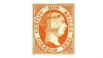 spain-1851-2-real-red-queen-isabella-stamp
