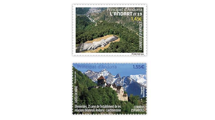 spanish-andorra-2020-mural-vaduz-castle-stamps