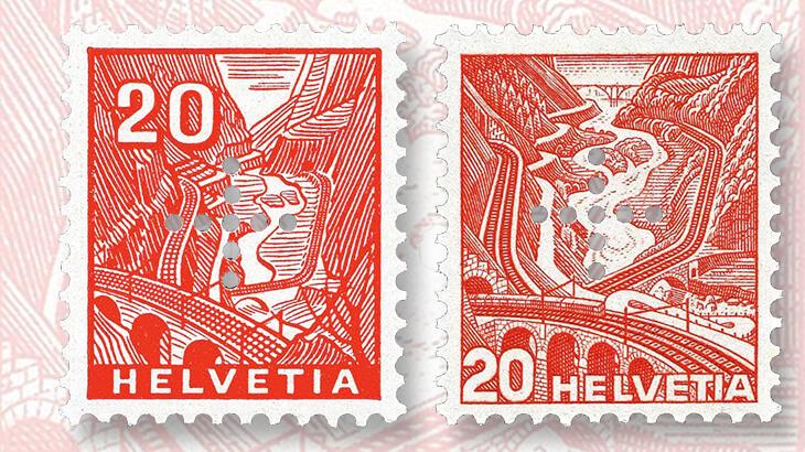 st-gotthard-railroad-swiss-landscape-stamps