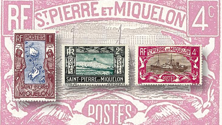 st-pierre-miquelon-1932-1933-map-lighthouse-fish-stamps