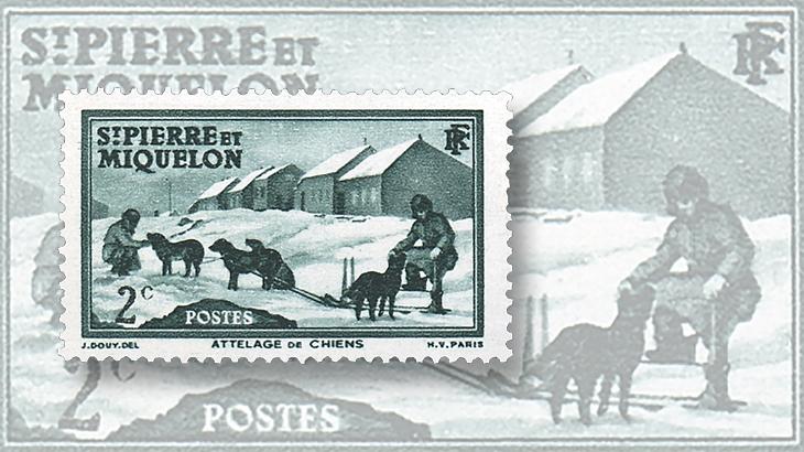 st-pierre-miquelon-1938-1940-dog-sled-stamps