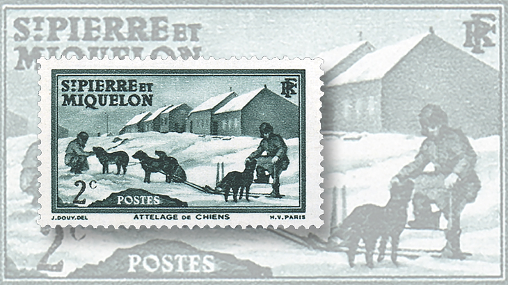 st-pierre-miquelon-1938-1940-dog-sled-stamps