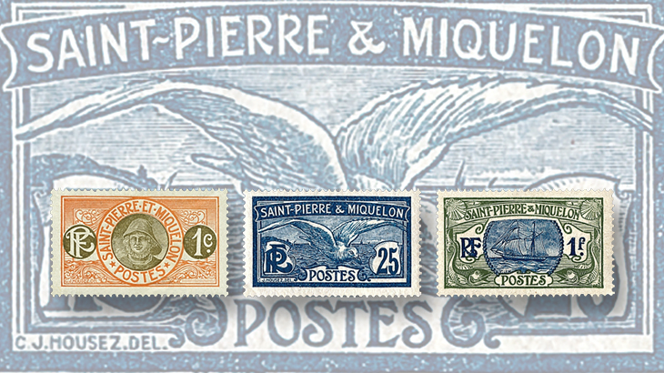 The Kingdom of Cod islands stamps of St Pierre Miquelon to 1957