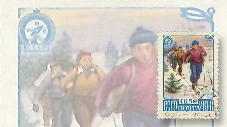 stamp-collecting-basics-christmas-1959-russia-skiing