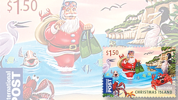 stamp-collecting-basics-christmas-2011-christmas-island-santa-claus-scuba-diving