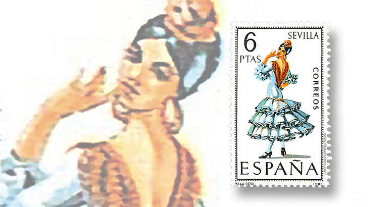 stamp-collecting-basics-spain-1970-costumes-seville-province-flamenco-dance
