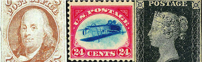 Franklin, Inverted Jenny, Penny Black stamps