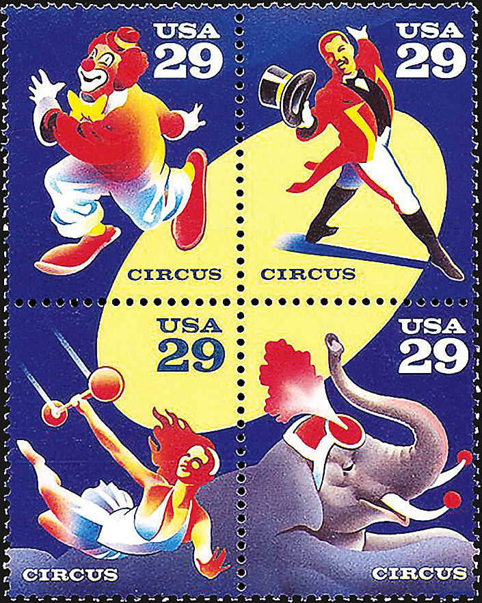 stamp-printing-united-states-circus-stamps-1993
