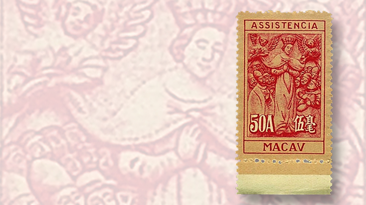 stamps-colored-paper-macao-postal-tax-printed-background