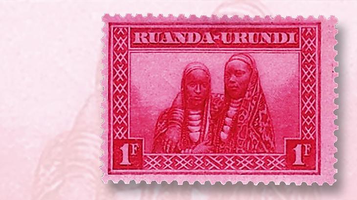 stamps-colored-paper-ruanda-urundi-tinted-red